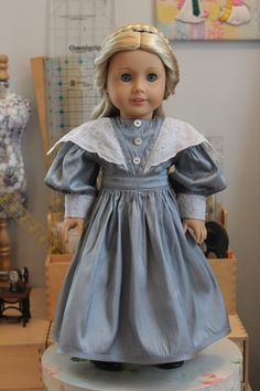 Victorian Day Dress in Blue Silk with Vintage by ForAllTimeDesigns
