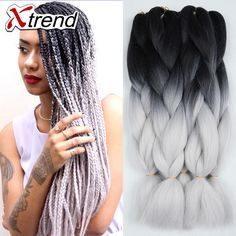 "24"" 100g ombre braiding hair for box braids hair synthetic braiding hair extensions black silver gray dark green brown burgundy-in Bulk Hair from Health & Beauty on Aliexpress.com   Alibaba Group"