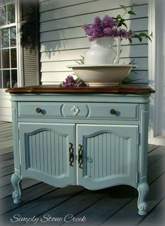 "Wood toned top with pale blue stand, very feminine ""Simply Stone Creek: A Little French Provincial"" Chalk Paint Furniture, Hand Painted Furniture, My Furniture, Refurbished Furniture, Upcycled Furniture, Furniture Projects, Furniture Makeover, Furniture Design, Wood Projects"