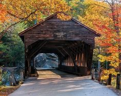 """A Kancamagus Gem"" The Albany Covered bridge spans the Swift River in the White Mountain National Forest. in New Hampshire. White Mountain National Forest, Green Mountain, Old Bridges, White Mountains, Fall Pictures, Fall Pics, Halloween Pictures, Funny Pictures, All Nature"