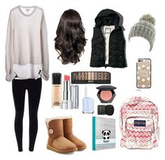 """""""Another Cold Day At School"""" by sopluvesonedirection ❤ liked on Polyvore featuring One Teaspoon, UGG Australia, JanSport, Abercrombie & Fitch, MAC Cosmetics, Revlon, Essie, H&M, Givenchy and Kate Marie"""