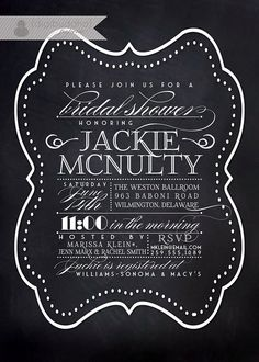 Chalkboard Bridal Shower Invitation Vintage Rustic Black White Blackboard Typography Poster Printable Digital or Printed - Jackie Style. $23.00, via Etsy.