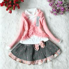 4,5,6,7t baby clothes 3pcs baby girls summer fall spring dress girl toddler clothes pink skirt. $28.99, via Etsy.