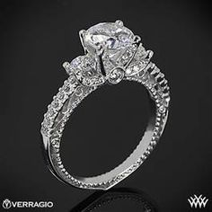 Verragio Beaded Shared-Prong 3 Stone Engagement Ring  #Whiteflash #Verragio