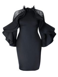 7556ba5cb26 Plus Size Black Long Sleeve Falbala Bodycon Dress