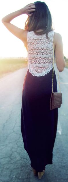 Crocet Lace Top Maxi Dress <3