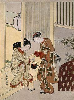 鶏 Lovers Plying a Rooster with Sake