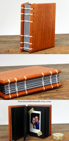 5x4 Mahogany Wood Instax Photo Album. 60 pages to hold your favorite Instant photos. wedding instax album, rustic wedding, gray and white wedding, polaroid photo album