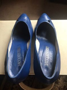 Vintage Royal Blue Court Shoes Pumps Slip Ons | Etsy Blue Court Shoes, Wine Shoes, Blue Stilettos, Leather High Heels, Tory Burch Flats, Beautiful Shoes, Pump Shoes, Deep Blue, Royal Blue