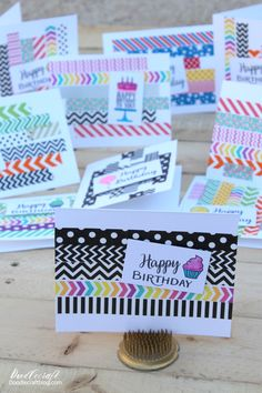 Simple Washi Tape Birthday Cards: Papercrafting Simple birthday cards are the best! You can make a bunch in one day and have all the birthday cards you need for the year. They are simple and fast to make.