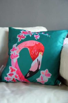 Chloe Croft Cushions - Flamingo & Flowers
