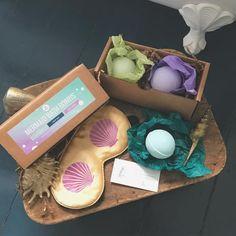 Mermaid Bath Set! Silk Eye Mask with Seashells and Set of 3 Mermaid bath bombs