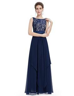 22d82ea19f0f63 Ever Pretty Womens Sleeveless Floor Length Evening Dress 12 US Navy Blue  Abschlussball Kleider, Abendlied