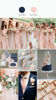 5 navy blue wedding ideas of early summer to stand out The 5 navy blue wedding ideas of early summer to stand out,The 5 navy blue wedding ideas of early summer to stand out, Navy blue and blush pink wedding color palet. Dusty Rose Wedding, Wedding Blue, Wedding Summer, Trendy Wedding, Diy Wedding, Budget Wedding, Wedding Ideas Blue, Summer Wedding Decorations, Blush Pink Weddings