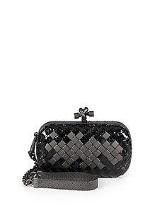 Bottega Veneta Mini Python & Leather Knot Clutch (=)