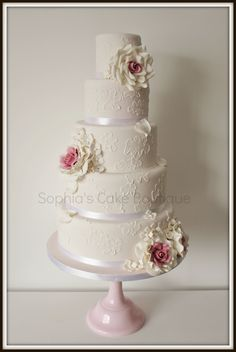 - Pink vintage romance, white brush embroidery and pink and white roses.