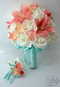 These colors are exactly what I want for our beach wedding! Saving this pin to make sure I reach out to this company! Bridal Bride Bouquet Groom Boutonniere Wedding by LilyOfAngeles Wedding 2017, Trendy Wedding, Elegant Wedding, Our Wedding, Dream Wedding, Party Wedding, Wedding Stuff, Beach Wedding Bouquets, Beach Wedding Colors