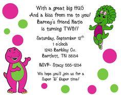 Barney invitation wording