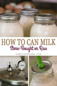 In this post you will learn how to can milk. It can be raw milk or store-bought milk, cow's milk or goat's milk. Canning Tips, Home Canning, Canning Recipes, Canning Food Preservation, Preserving Food, Milk Store, Raw Milk, Pressure Canning, Milk Recipes