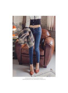 Washed Skinny Pants, Blue , 25 - ERANZI | YESSTYLE