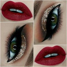 Gold Glitter Eyes + Red Lips