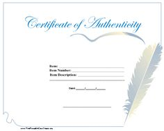 A certificate of authenticity with a large feather pen drawing the distinctive blue border. Free to download and print