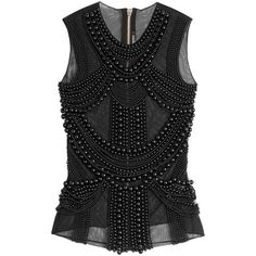Balmain Embellished Sleeveless Top ($2,121) ❤ liked on Polyvore featuring tops, shirts, tank tops, balmain, blusas, black, beaded shirts, beaded tank top, black sleeveless top and embellished tank tops