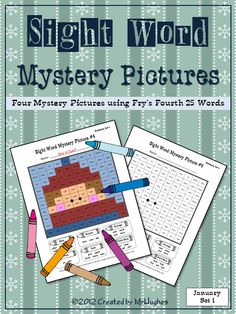 Winter Fun is here with my Sight Word Mystery Pictures JANUARY SET #1 of 2. Your students will love coloring these all new WINTER themed mystery pictures. Each of the four pictures includes a mix of the fourth 25 words from Fry's Instant Word List. ($)