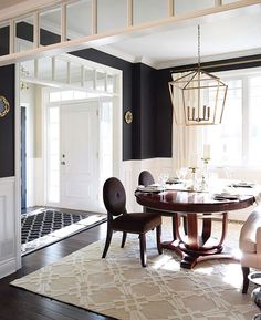 Get the Black and White Dining Room   home   Pinterest   Catalog     I have finally found a black paint that I m in love with and it s because  of my talented friend  Tamara  citrineliving and her incredible dining room  walls