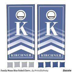 Family Name Blue Faded Chevron Monogram Modern Cornhole Set Custom Cornhole Boards, Cornhole Set, Cornhole Tournament, Cross Beam, Chevron Monogram, Epic Games, School Colors, Board Games, Custom Design