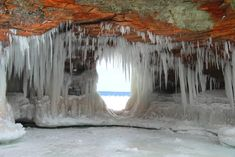A frozen sea arch on Lake Superior Apostle Islands National Lakeshore Wisconsin  #landscape #frozen #arch #lake #superior #apostle #islands #national #lakeshore #wisconsin #photography