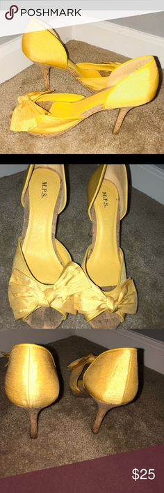 MPS Yellow Open Toe w/Bow Heels Yellow heels with bow on front. Cork base and cork heel. MPS Shoes Heels
