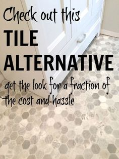 inexpensive flooring Get the look of hexagon tile without the cost, time or hassle. Skip the installation, grouting, cleaning . and try this DIY-friendly, inexpensive flooring option! Vinyl Sheet Flooring, Inexpensive Flooring, Basement Flooring, Vinyl, Flooring, Hex Tile, Tile Floor, Basement Flooring Options, Flooring Options