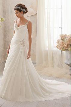 2014 Straps Pleated Bodice Sheath/Column Wedding Dress Chiffon Chapel Train USD 189.99 EPPLA5BKZ6 - ElleProm.com