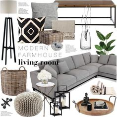 Modern Farmhouse Living Room by emmy on Polyvore featuring interior, interiors, interior design, home, home decor, interior decorating, Arteriors, Heathfield & Co., Serena & Lily and Hudson's Bay Company