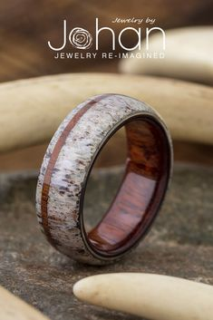 Flat ring with wood and green inlay wood and steel ring anniversary band ring ready for shipping size 6,5 stainless steel wooden band