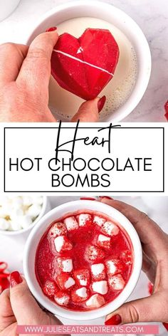 Pour hot milk over these Valentine's Day themed Hot Cocoa Bombs, let them melt and they magically release the marshmallows and cocoa inside of them to create a velvety smooth hot chocolate to enjoy! Chocolate Powder, Hot Chocolate Mix, Chocolate Coffee, Dessert Recipes, Pie Recipes, Yummy Recipes, Desserts, Yummy Drinks, Yummy Food
