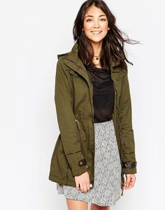 Brave Soul Lightweight Parka With Contrast Lining