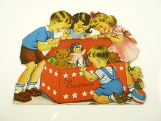 Cute Vintage NORCROSS Christmas Greeting Card Kids In Toy Box ~ Signed