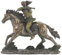 Apache Indian On Horseback Sculpture Statue Available at AllSculptures.com