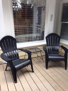I painted these resin adirondack chairs with black spray paint they used to be brown,turned out super nice.
