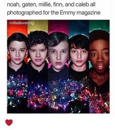Noah Gaten Millie Finn and Caleb All Photographed for the Emmy Magazine Milliellevenllig ❤️ Cast Stranger Things, Stranger Things Netflix, Movies Showing, Movies And Tv Shows, Will Byers, Detroit Become Human, Best Shows Ever, Hunger Games, Nerdy