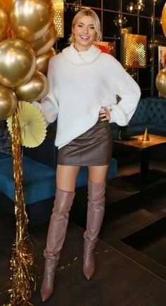 Lena Gercke The Effective Pictures We Offer You About swag outfits with uggs A quality picture can t Leather High Heel Boots, Thigh High Boots Heels, Celebrity Boots, Sexy Stiefel, Skirts With Boots, Sexy Skirt, Dress Skirt, Dress Shoes, Shoes Heels