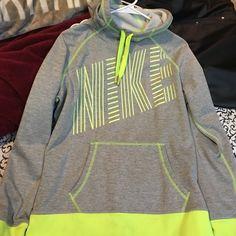 Neon Yellow Nike Hoodie Super cute Nike Hoodie/Sweatshirt. In very good condition. Honestly, it fits more like a medium than a large. Make an offer!  Nike Tops Sweatshirts & Hoodies