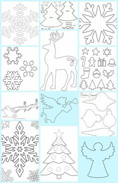 Homemade Christmas Decorations, Diy Christmas Ornaments, Christmas Templates, Christmas Printables, Christmas Paper, Christmas Time, Cardboard Crafts, Paper Crafts, Stencils