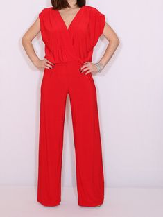 6e74692d9e5f Red wide leg jumpsuit women Red wrap top jumpsuit Red summer jumpsuit