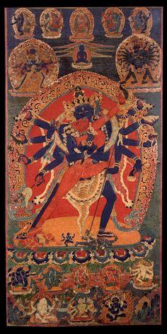 Tibetan Buddhist Thangka of Chakrasamvara & Consort Yab Yum, Tibet