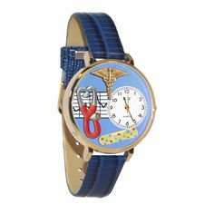 Whimsical Nurse 2 Blue Watch in Gold