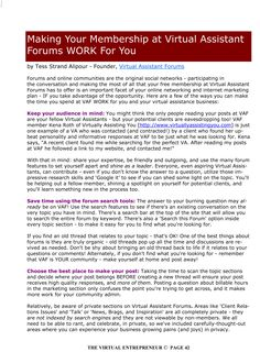 Making Your Membership at Virtual Assistant Forum work for you