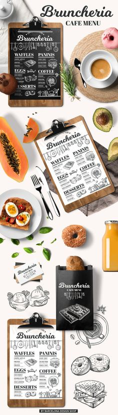 Brunch menu, restaurant template. FREEBIE: 100 Free Food Illustrations for your next design project here ➝ http://barcelonadesignshop.com/100-free-food-illustrations/. This free bundle include hand drawn graphic vegetables, fruits, desserts, drinks, berries, nuts.
